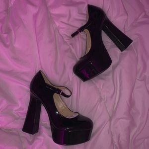 NEW Black Chunk Heel Maryjane Pumps